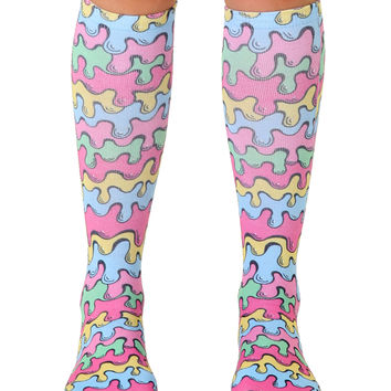 Neon Drips Knee High Socks