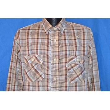 80s Levi's White Tab Brown Blue Plaid Button Down Shirt Medium Tapered Fit
