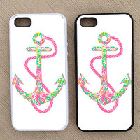 Nautical Anchor Preppy Pattern iPhone Case, iPhone 5 Case, iPhone 4S Case, iPhone 4 Case - SKU: 41