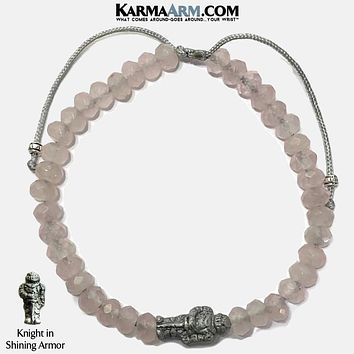 KNIGHT IN SHINING ARMOR | Rose Quartz | Ceramic Knight | Adjustable Pull Tie Bracelet