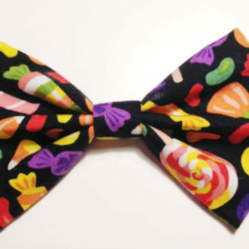 Halloween Candy Hair Bow • Candy Hairbow • Halloween Gifts • Spooky Gifts • Halloween Fashion Bow • Candy Corn Bow • Candy Fabric Bow •
