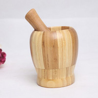 1 Set Press Ginger Garlic Bamboo Crusher Herb Spice Masher Grinder Chopper Kitchen Tool Utensils Accessories