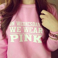 """ On Wednesday We Wear Pink "" Women's Trending Popular Fashion Victoria Secret Like High Quality Cotton Blouse Swearshirt Shirt Top"