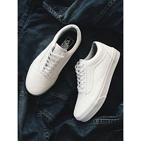 Vans tide brand plaid printing men and women low canvas shoes white