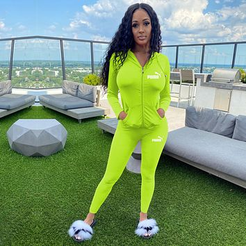 PUMA Women Casual Fashion Top Sweater Pullover Pants Trousers Set Two-Piece