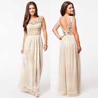 Leshery Sexy Women Summer Boho Long Maxi Evening Party Dress Lace Floral Dress Beach Dresses Chiffon Dress (L, beige)