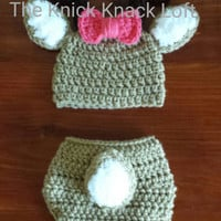 Crochet Deer Inspired Baby Girl or Boy Photo Prop Set with Hat, Antlers, and Diaper Cover with Tail. MADE TO ORDER. Free Shipping