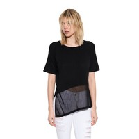 Womens Black Nova Pullover Short Sleeve Sweater By One Grey Day