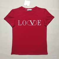 """Valentino""Women Casual Fashion Simple Letter Round Neck Short Sleeve T-shirt Top Tee"