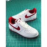 Nike Air Force 1 Low Af1 White Red Sport Shoes