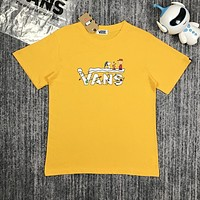 VANS Popular Women Men Snoopy Print Short Sleeve Print T-Shirt Top Yellow