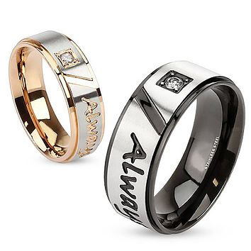 Always Together - FINAL SALE Round cut cubic zirconia set in rose gold and black IP engraved couples stainless steel ring