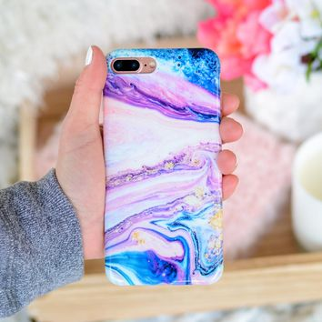 Blueberry & Lavender Daydream Marble iPhone Case