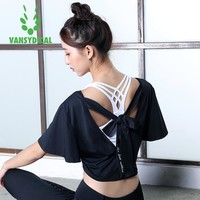 Crop Top Backless Yoga Shirt Sports Tops Loose O-neck Tees Workout Fitness Gym Sportswear Vansydical