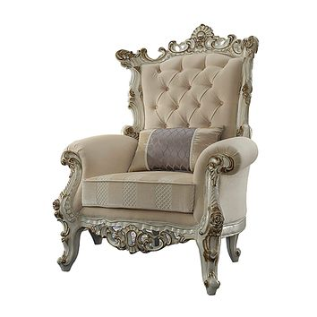 """Sofa Pillows - 38"""" X 38"""" X 52"""" Fabric Antique Pearl Upholstery Poly-Resin Accent Chair w/1 Pillow"""