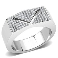 Mens Stainless Steel Rings DA303 Stainless Steel Ring with AAA Grade CZ