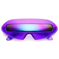 Retro Futuristic Cyclops Mirrored Lens Wrap Around Sunglasses 9125