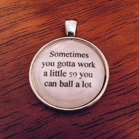 work a little tom haverford parks and rec quote necklace