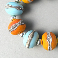 Turquoise and Tequila 9 Handmade Lampwork Glass by TheBeadYouNeed