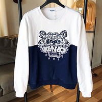 KENZO Fashion Women Men Casual Embroidery Contrast Color Round Collar Sweater Sweatshirt
