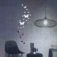 30 pcs Butterfly Home Decorations DIY Silver Mirror Wall Sticker Artistic  large butterfly Wall Decal 3D  mirror Wall Stickers