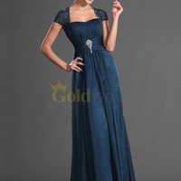 [US$187.97] Beaded Lace Cap Sleeve Floor Length Draped Chiffon Mother of the Bride Dress