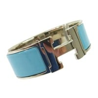Auth HERMES Vintage H Logos Clic Clac Bangle Silver Blue Accessories AK15914