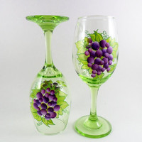 Green Wine Glasses Purple Grapes Hand Painted Set of 2