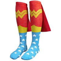 Superhero Adult Knee High Cape Sock Wonder Woman