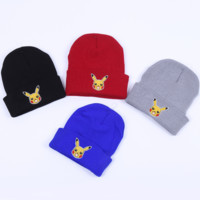 Winter Cute Pikachu Embroidery Knit Beanies Hat