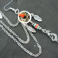 ONE kokopelli kachina dreamcatcher chained ear cuff turquoise and coral cuff in boho gypsy hippie hipster native american tribal style