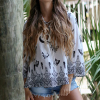 Gypsy Moon Black & White Lace Up Blouse