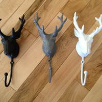 Cast Iron Deer Head Hook by LucyHaus on Etsy