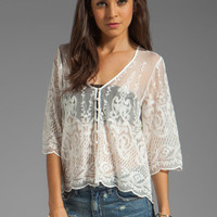 Dolce Vita Jinger Silk Embroidery Long Sleeve Button Down Blouse in Snow from REVOLVEclothing.com