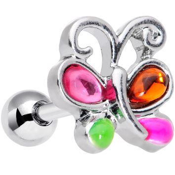 "16 Gauge 1/4"" Pink Orange Gem Butterfly Cartilage Tragus Earring"