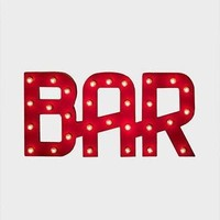 Red Bar Marquee Sign with Lights