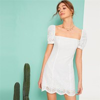 Puff Sleeve Scallop Hem Square Neck Schiffy White Boho Dress Women Eyelet Embroidery Zip Back Short Slim Dresses