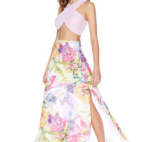 Floral Chiffon Maxi Skirt with Slit