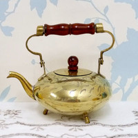 Brass Kettle or Tea Pot, Teapot, Toddy Kettle, Folding Handle, Wooden Handle, Hand Etched, Floral Design, Hand Made, Hand Crafted, Artisan