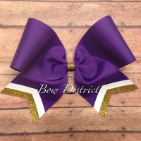 """3"""" Purple Team Cheer Bow with White Glitter and Gold Glitter Tail Stripes"""