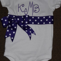 Custom made Embroidered Onesuit with ribbon band and bow