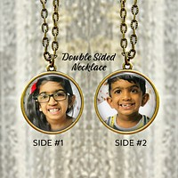Personalized Photo Pendant - Double Sided Necklace - Gift for Mom Birthday