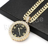 "Hip Hop Post Malone Watch Pendant Necklace W/10mm 24"" Miami Cuban Chain"