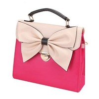 European Style Retro Rose Red Bowknot Message Bag Handbag