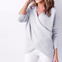 Women Autumn Winer Sweater criss Cross V neck Sweater Long Sleeve Sweaters Wrap top Casual Jumper Pullover Knitwear pull femme