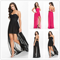R70072 Unique design black and pink colors dress sexy strapless short front longer back summer dress hot sale chiffon dress