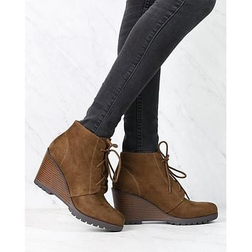 Not So Far Fetched Lace-Up Wedge Ankle Booties in Oak