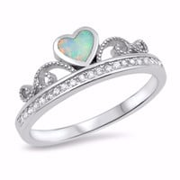 Sterling Silver CZ Lab White Opal Simulated Diamond Crown Tiara Ring 7MM