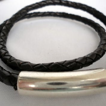 Mens Braided Leather Bracelet,with Zamak Magnetic Clasp.Double wrap. Pulsera hombre