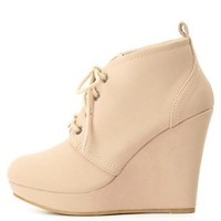 Bamboo Lace-Up Platform Wedge Booties by Charlotte Russe - Nude